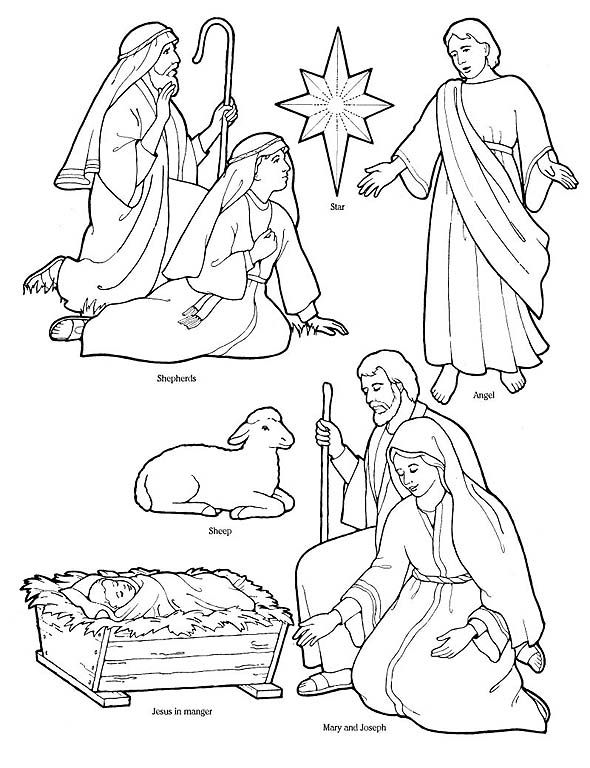 Printable nativity coloring page to cut out and make your for Make a coloring page out of a photo
