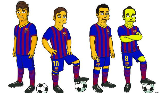 """238. """"On occasion of the 25th anniversary of the launch of the first episode of the """"The Simpsons"""", the FOX network has negotiated agreements with major companies and personalities in different sectors The first four players to receive this treatment are Xavi, Iniesta, Messi and Neymar 