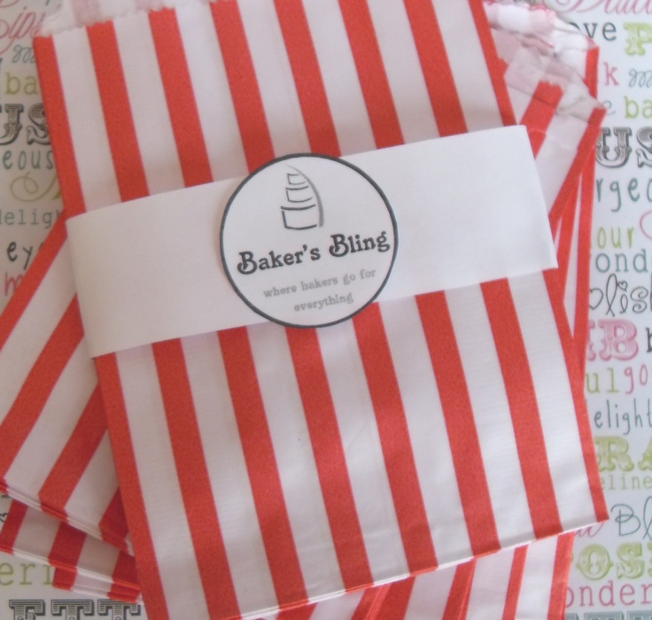 """Set of 50 Red Candy Stripe Paper Bags for Candy Bars, Party Treats, Cookies, Gifts (5"""" X 7""""). $7.00, via Etsy."""