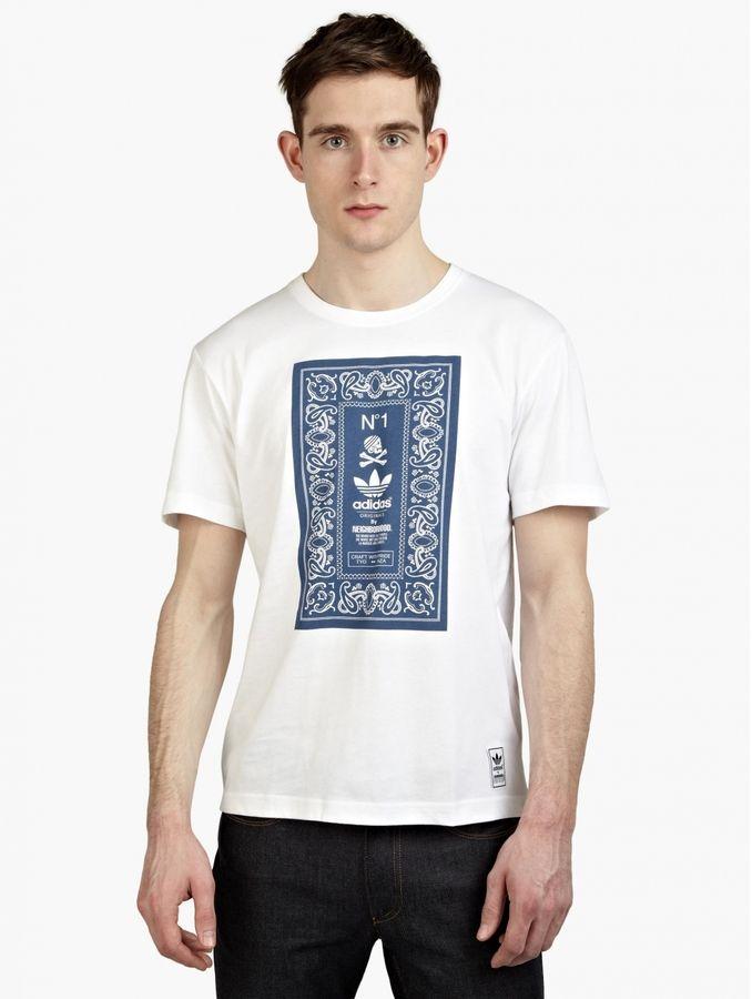adidas Originals X Neighbourhood Men's White Printed T-Shirt