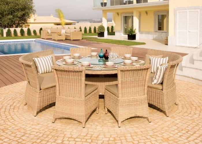 Outdoor / Garden Furniture   Auckland Round Dining Table With Four Dining  Chairs And Two Dining Benches In Light Bonano. Fabric Shown: Durban Beige.