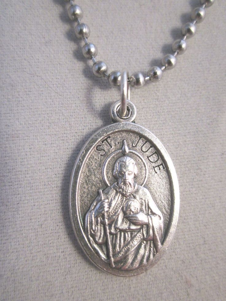 """St Jude Medal Italy Pendant Necklace 24"""" Ball Bead Chain Impossible Causes"""