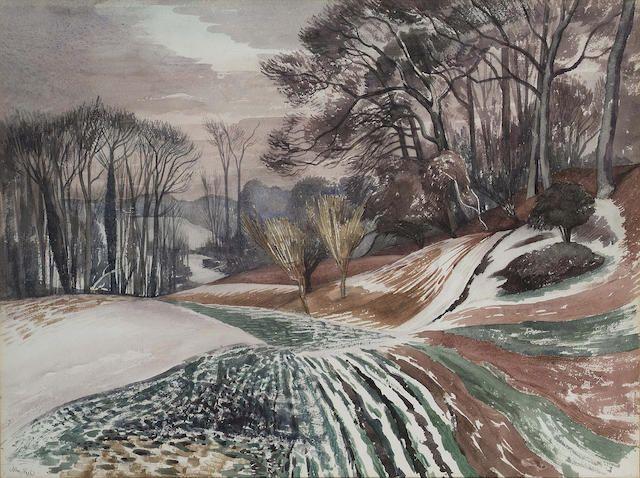 John Nash R.A., N.E.A.C. (1893-1977) Winter evening, Wormingford