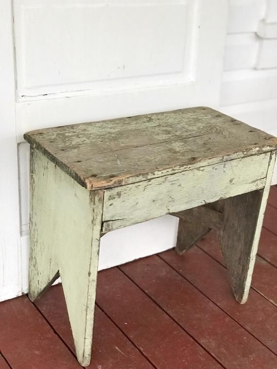 Green Chippy Painted Bench Free Shipping Etsy Painted Benches Chippy Painted Furniture Rustic Wood Furniture