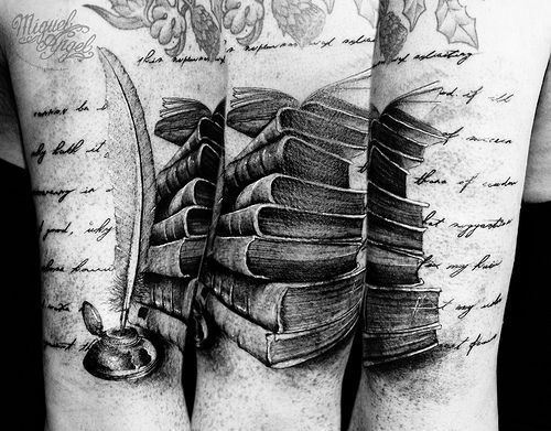 Old book, quill feather and Macbeth text custom tattoo
