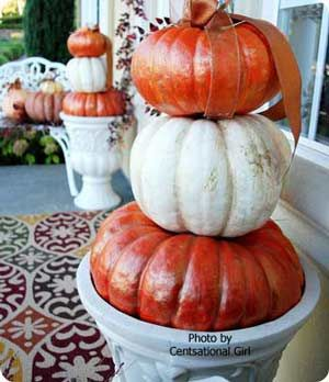pumpkin decorating ideas: Fall Pumpkin, Fall Front Porches, Decor Ideas, Fall Style, Fall Decor, Pumpkin Decor, Front Doors, Pumpkin Topiaries, White Pumpkin