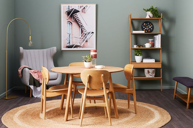 Whywood Dining. This is apartment living at it's best with our Whywood collection, when all your pieces work together it's easy to create rooms that are multi-functional. We are gonna call this a dining library... because now matter how small your home a reading nook is key… #timberfurniture #diningroom #scandistyle #green #pink #functionalinteriors #storage #interiorstyling