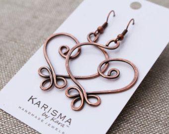 Copper earrings Large Celtic Heart Wire by Karismabykarajewelry