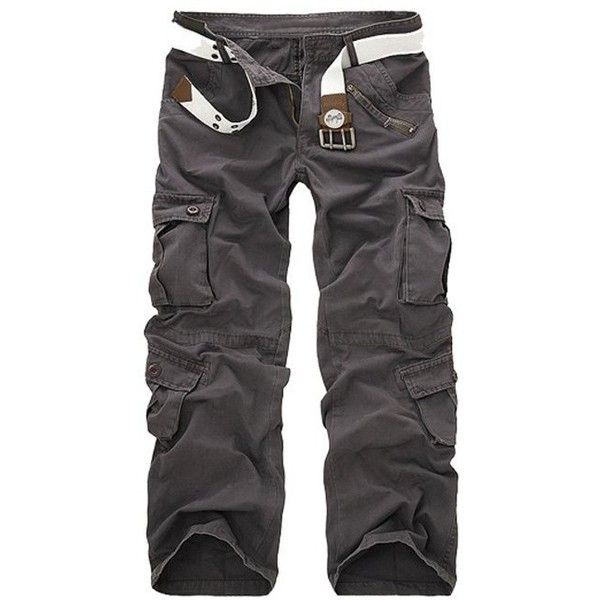 Zipper Fly Straight Leg Multi Pockets Cargo Pants (34 AUD) ❤ liked on Polyvore featuring men's fashion, men's clothing, men's pants, men's casual pants, mens straight leg cargo pants, mens zip off cargo pants, mens cargo pants, mens zipper pants and mens zip off pants