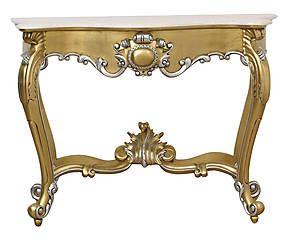 Consolle in mogano e marmo Luigi oro/argento - 145x96x55 cm