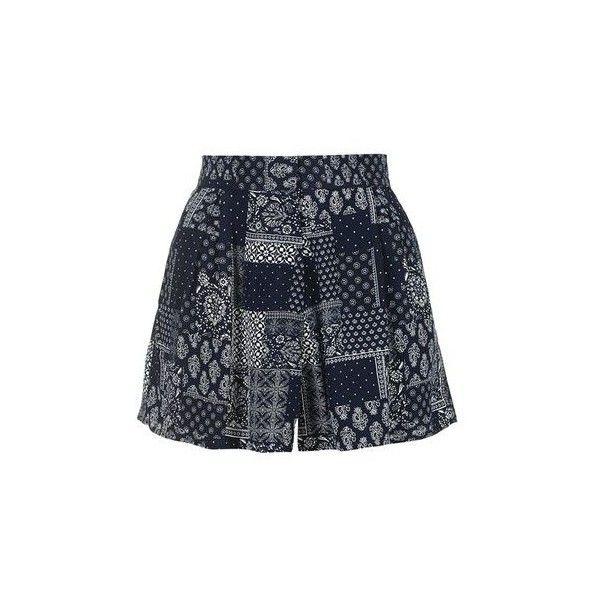 TopShop Petite Bandana Print Shorts ($46) ❤ liked on Polyvore featuring shorts, print shorts, topshop, dark blue shorts, rayon shorts and petite shorts