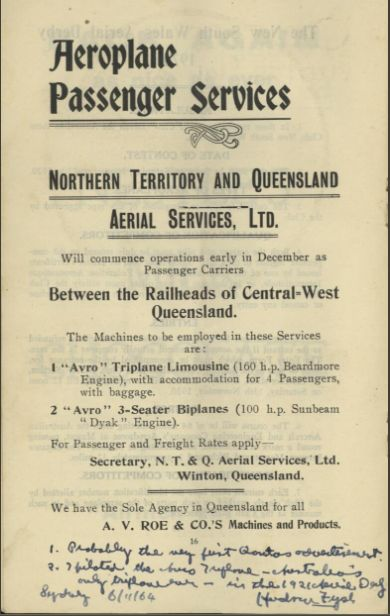 The first ad for QANTAS - or rather NTAQAS! Nov 1920. https://twitter.com/Airminded/status/882382565788721152