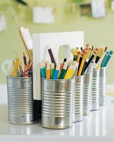 Soup cans & piece of wood. Organize desk or craft supplies, plant herbs in kitchen, contain hair accessories....