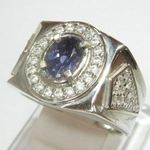 Cincin Pria Batu Iolite Biru Silver Ring 9US