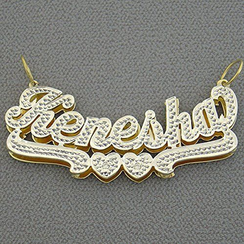 Personalized Large 2 Inch 10k Gold 3d Double Plates Diamond Accent Name Charm Necklace Jewelry Personalized Jewelry Custom Jewelry