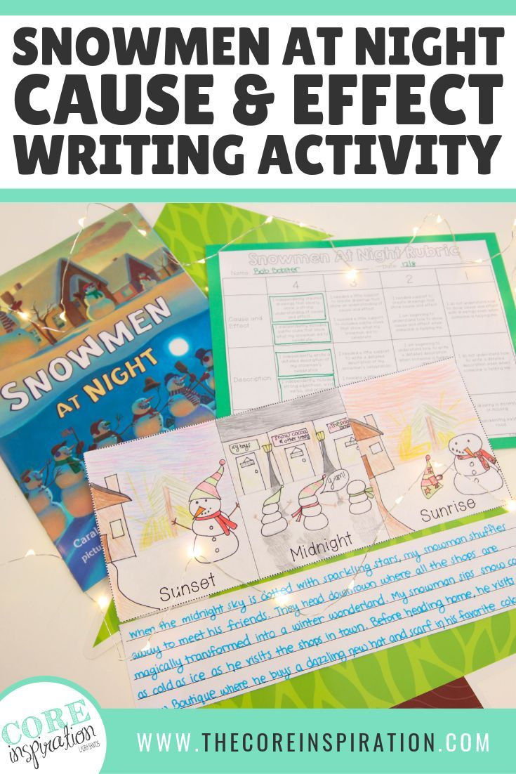 Snowmen at Night: Cause and Effect Art and Descriptive
