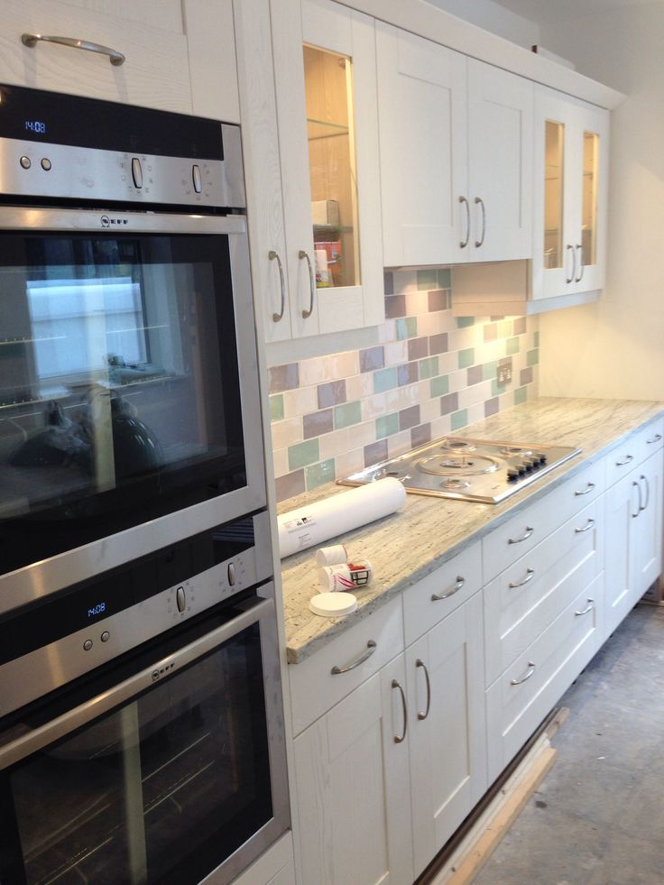 Almost finished dream kitchen, light cool airy kitchen metro tiles Laura Ashley artisan tiles granite cream french grey biscuit duck egg
