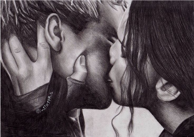 Peeta Mellark and Katniss Everdeen drawing and kiss from the last book and movie ~ The Hunger Games (books AND films)