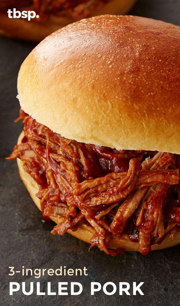 You only need three ingredients to make this moist, flavorful pulled pork that can be prepped in just minutes and then cooked in your slow cooker. Put on a hamburger bun for a pulled pork sandwich, or used in a taco, you can't go wrong with this easy recipe.