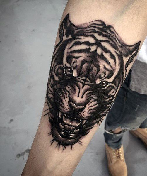 Small Forearm Dragon Tiger Tattoo For Men
