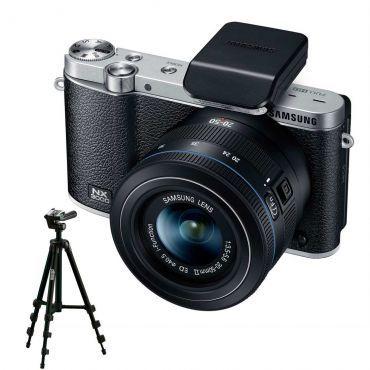 Câmera Digital Samsung Smart NX3000 Preto, 20.3 MP, Display Articulado 3.0, Lente NX 20-50mm e Auto Foco + Tripé Fotográfico Greika Altura 1.05cm