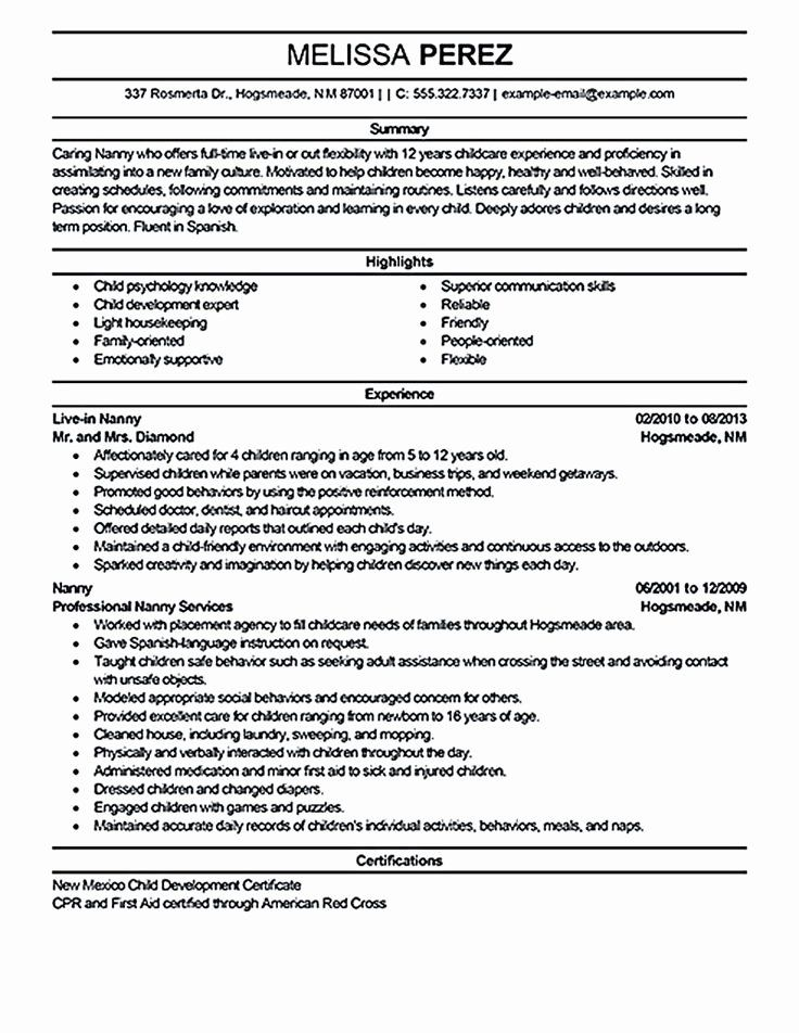 Nanny Job Description Resume Unique Nanny Resume Sample