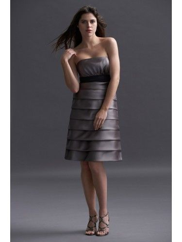 Satin Strapless tiered Skirt Knee-Length Bridesmaid Dress