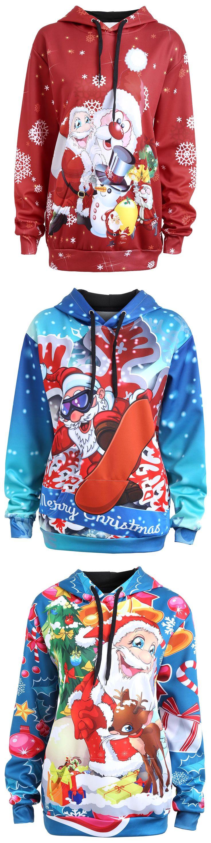 Plus Size Christmas Santa Claus Elk Hoodie