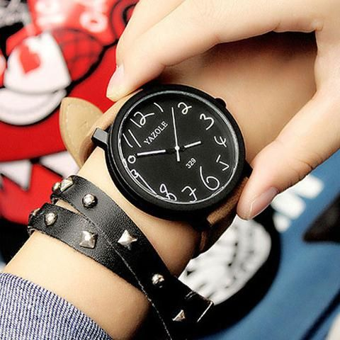 YAZOLE Plain & Cute Wristwatch with Leather Strap