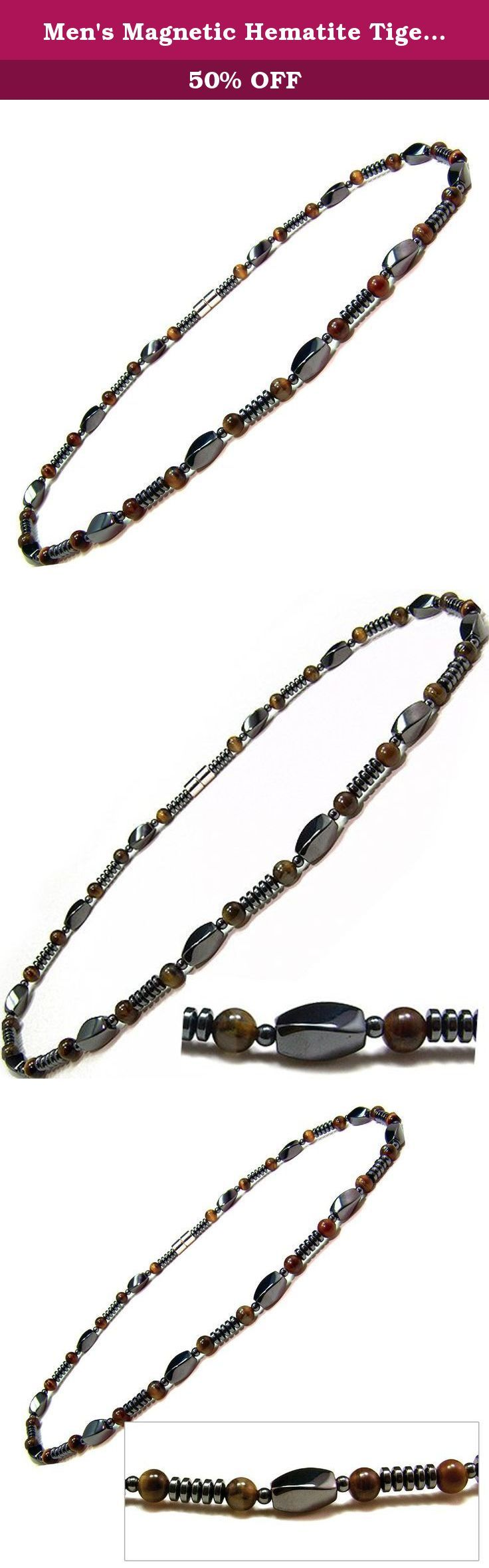 """Men's Magnetic Hematite Tiger's Eye Bead Necklace 18"""". A stylish magnetic hematite necklace, the piece features tiger's eye beads, twist black magnetic hematite beads and a strong magnetic clasp enclosure which will hold this fabulous piece in style. Each magnetic hematite bead measures Approx. 600-700 gauss magnetic power. It meausres 1/4"""" in width and looks great on both men and women."""