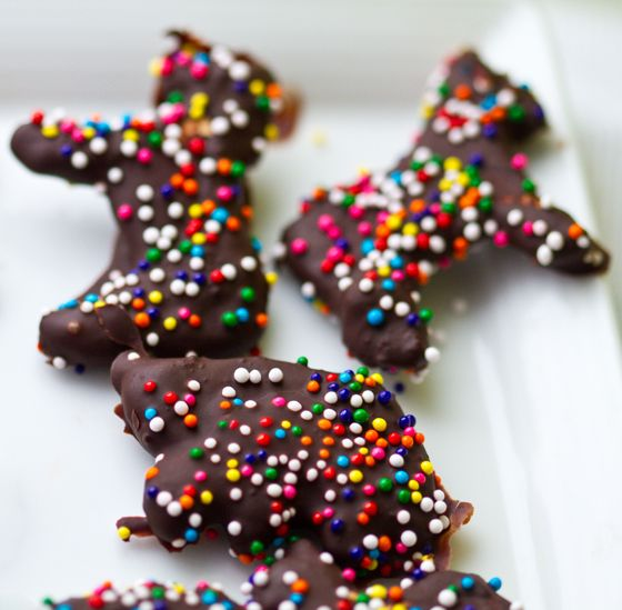These adorable chocolate covered animal crackers are a fun and fast treat! We all love those sweet pink and white coated animal crackers/cookies - well now try them in silky chocolate. Rainbow colored sprinkles on top. Your kids can even get in on the cracker-coating process and make these cookies their own! All you need…
