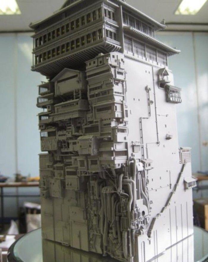 宫崎骏动画《千与千寻》中的汤屋模型。