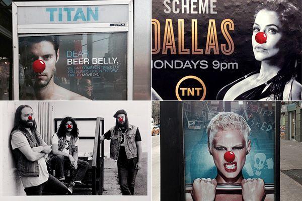 Большие клоунские носы на постерах Нью-Йорка. (7 фото)
