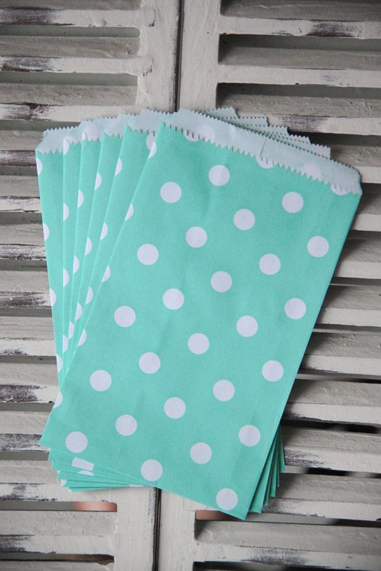 Teal Polka Dot Candy Bags - Small - Teelee - A Bits & Bobs Brand