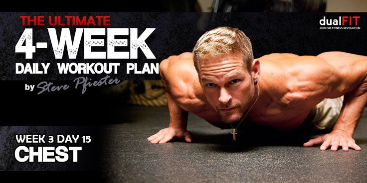 Week 3, Day 15: Chest. Join DualFIT expert trainer Steve Pfiester as he takes you and himself through a 4-week workout plan to transform your body into a mean muscle machine. Congrats, you are through the first half of the workout plan and you should already start to feel some stiffness and bulk in your muscles! It's the beginning of week 3 and it's time for another chest workout! #fitness #training #workout #exercise #gym #muscles
