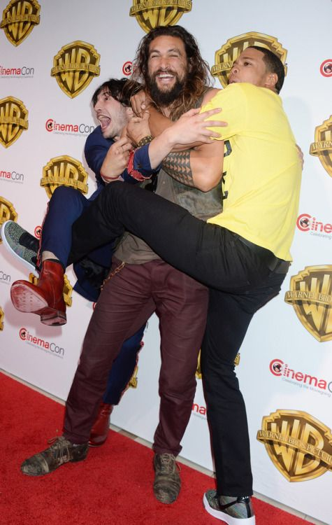 celebsofcolor:  Jason Momoa Ray Fisher and Ezra Miller at...