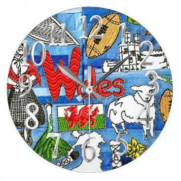 "Title : Denim Designs, Welsh Icons/Symbols Large Clock  Description : Wales, Welsh, Scottish, Scotland, ""Flag-of-Wales"", ""Flag-of-Scotland"", ""Symbolic-Icons"", Souvenirs, Gifts, ""Y-Ddraig Goch"", Mythology, Folklore, ""Digital-Designs"", ""Illustrative-Art"", Denim, ""Denim-Designs"", ""Blue-Jeans"", Trendy, Stylish, Modern, ""Distressed-Denim"", ""Frayed-Denim"", Patchwork, Patches, ""Denim-Patchwork-Quilts"", Decals, ""faux-embroidered-patches"", ""Worn-Jeans', ""Girly-Chic"", ""Tattered-Jeans""…"