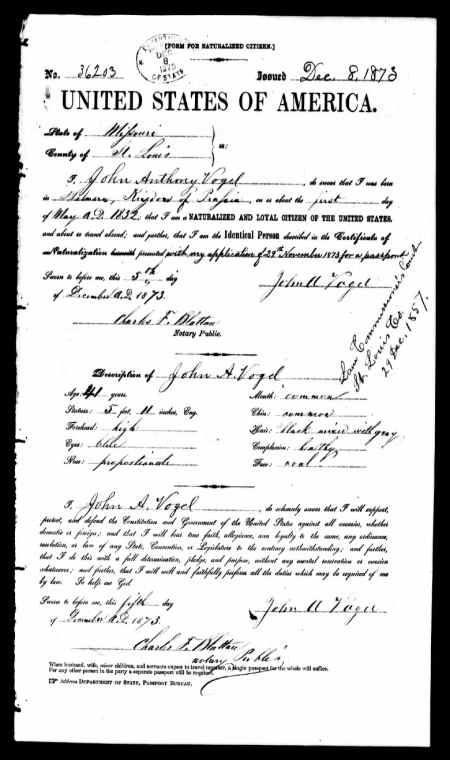 John Anthony Vogel discovered in U.S. Passport Applications, 1795-1925