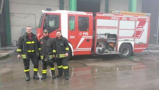 Tempestivo l'arrivo dei vigili del fuoco presso l'impianto SAF di Colfelice