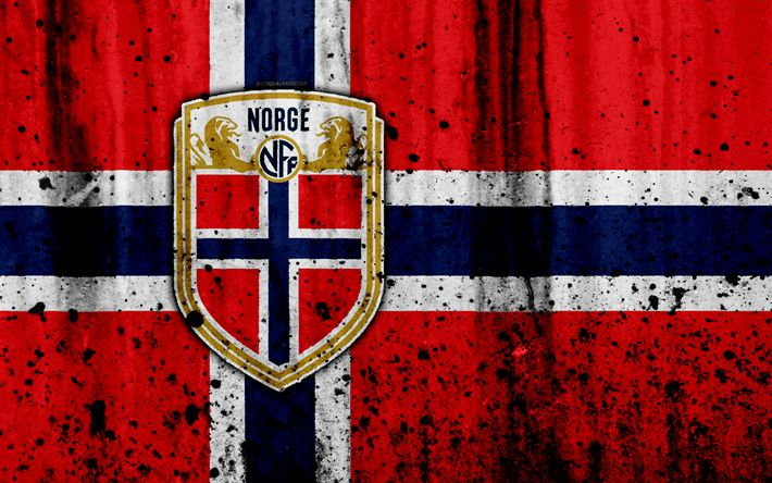 Download wallpapers Norway national football team, 4k, logo, grunge, Europe, football, stone texture, soccer, Norway, European national teams