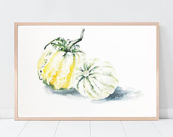 Squash Pumpkins  PRINT Watercolor Painting   Autumn Wall Art