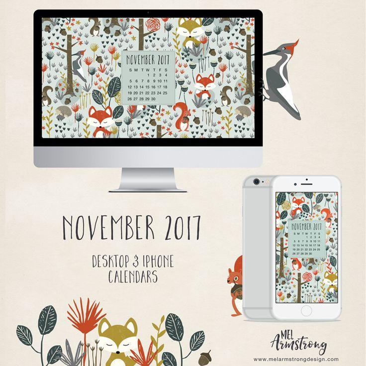 November 2017 Free Desktop Calendar by Mel Armstrong
