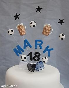 BEER GLASS & FOOTBALL BIRTHDAY CAKE TOPPER ANY COLOURS, NAME AND AGE | eBay