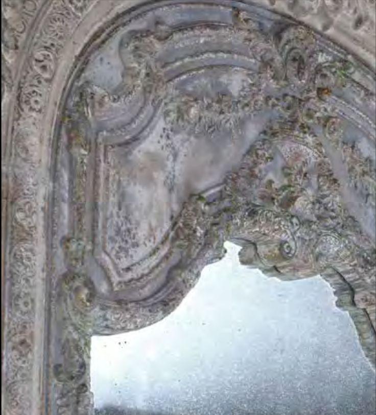 Detalj från väggsektion i konststen marmorkomposit som kan fungera som både tavla, vägg eller sänggavel från Manorstyle