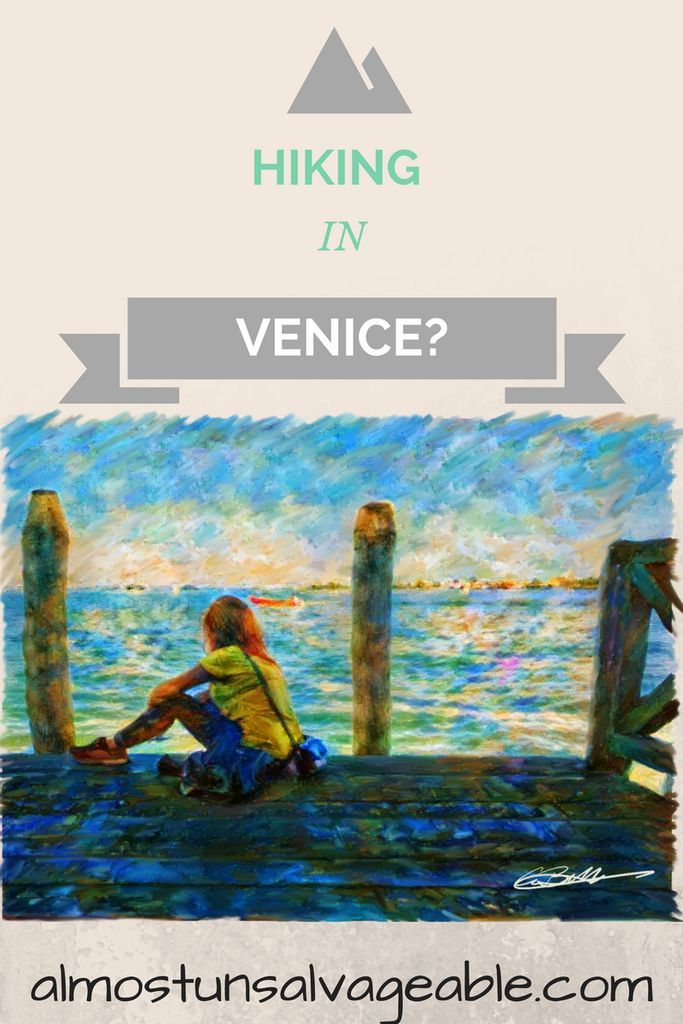 hiking Venice digital illustration Europe travel