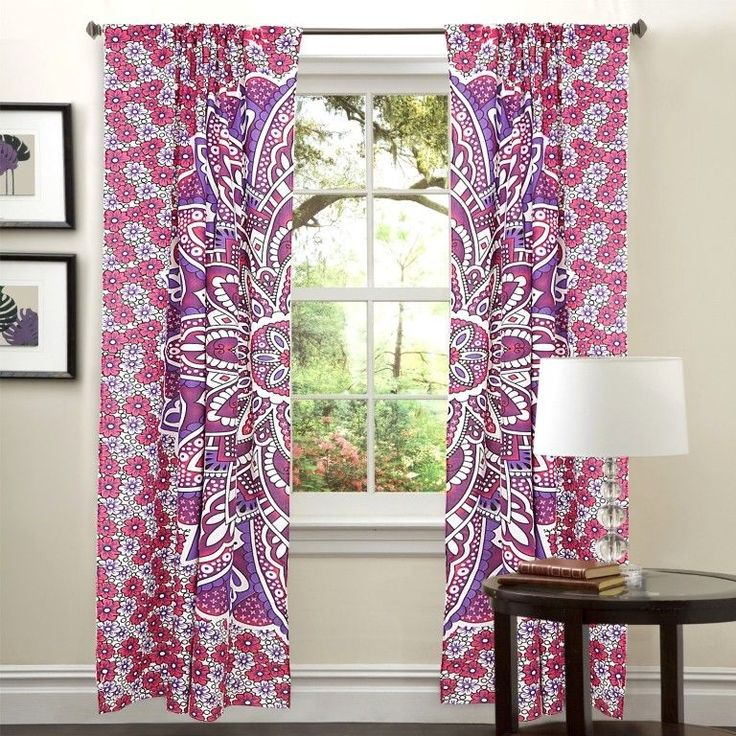 Indian Door Window Balcony Curtains Mandala Scarf Wall Drapery Valances Curtain #Handmade #Traditional