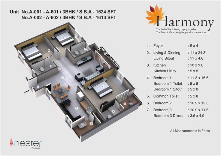 3D model of the 3bhk falt of 1613SFT of Nester Harmony