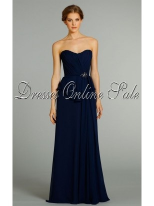 Unique Dark Navy Sheath Floor-length Chiffon Sweetheart Dress With Layers