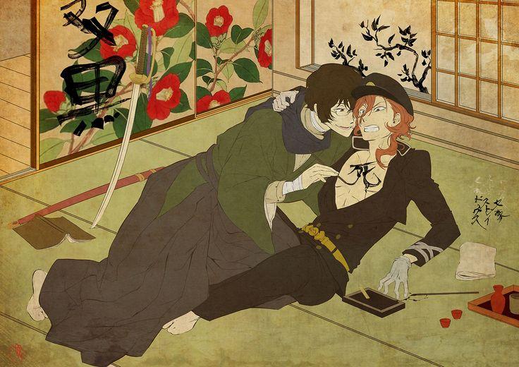 浮世絵 | ukiyo-e  || Soukoku week, day 3 - Historical AU.  Collab with my Double black partner @nyanrnia ♡