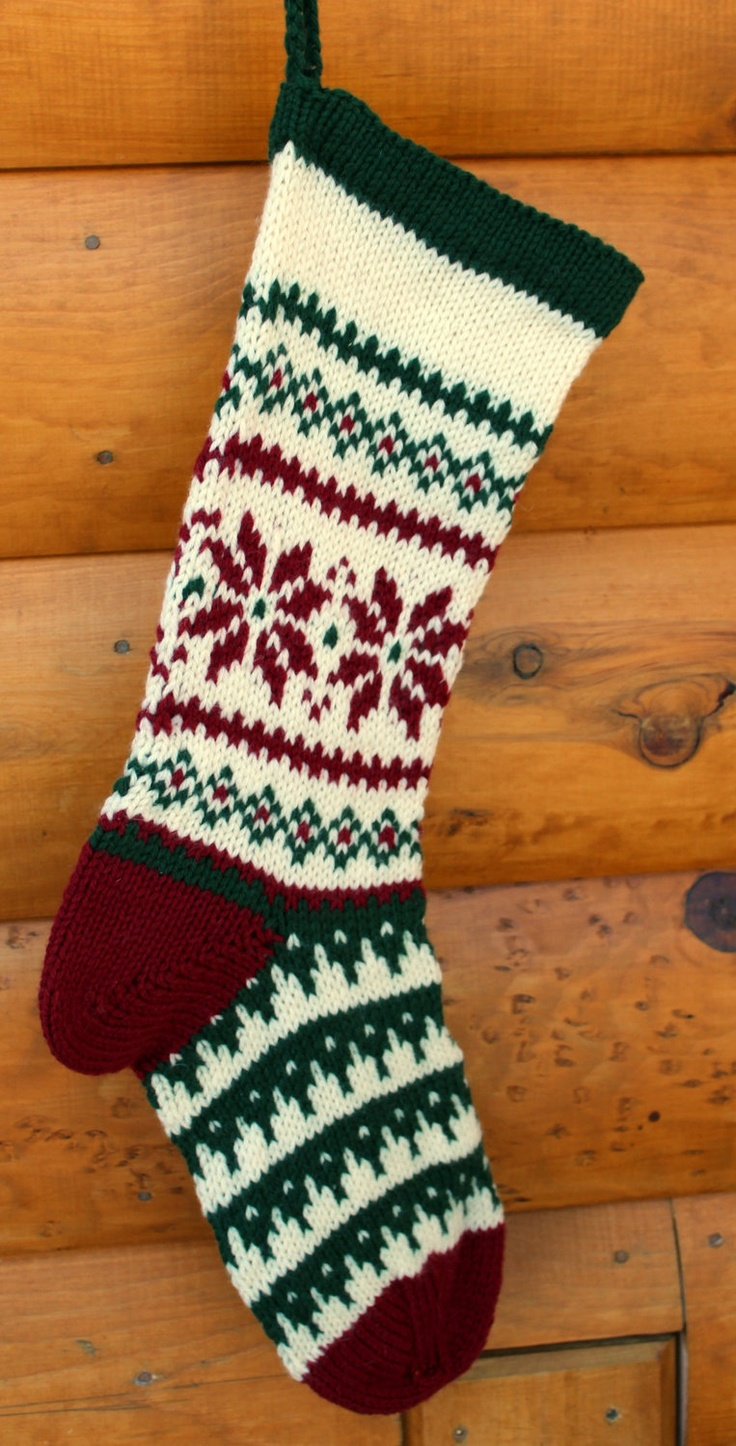 Hand Knit Christmas Stocking Poinsettia Christmas stockings, Inspiration an...
